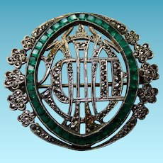 Art Deco Sterling & Marcasite Pin/Brooch With Green Stones