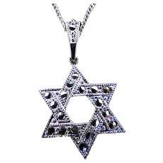 Sterling Silver & Marcasite Jewish Star & Chain