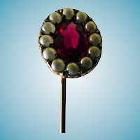 Victorian Stick Pin 14K Seed Pearls & Red Stone