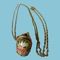 Victorian Gold Filled & Porcelain Watch Fob With Sterling Chain