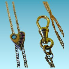 Victorian Ladies Watch Chain & Heart Slide With Opal & Red Stones