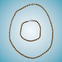14K Yellow Gold Rope Chain & Bracelet