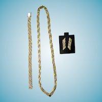 14K Tri Color Gold Necklace Bracelet & Earrings