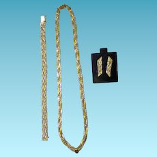 14K Tri Color Gold Necklace Bracelet & Earrings