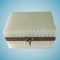 French Ribbed White Opaline Glass Casket Box With Bird Pull