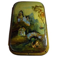 French Antique Card Case/Aide D' Memoir Papier Mache With Mother of Pearl