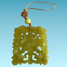 Carved Jade Double Happiness Pendant
