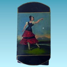 Papier Mache Early 19th C Cigar Case Girl Dropping Hankie