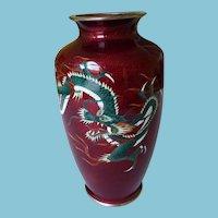 Japanese Ginbari Cloisonne Vase Pigeon Blood With Dragons