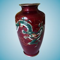 Japanese Ginbari Cloisonne Vase Pigeon Blood With Dragons