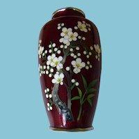 Japanese Ginbari Cloisonne Vase Floral Design