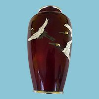 Japanese Ginbari Cloisonne Vase With Cranes