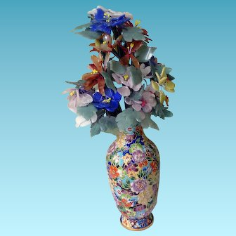 Huge Chinese Cloisonne Vase With Stone Flowers