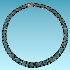 Sterling Malachite & Onyx Choker Style Necklace