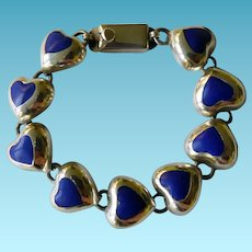 Mexico Sterling & Lapis Heart Bracelet