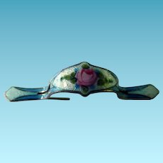 Sterling Enamel Flower Holder Brooch/Pin Tussie Mussie Posey Holder