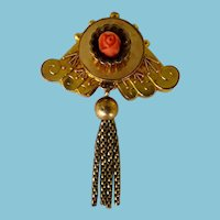 Victorian GF Brooch/Pin With Carved Coral Rose