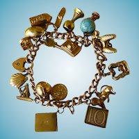 Vintage 9K English Charm Bracelet With Padlock Heart Lock & 19 Charms