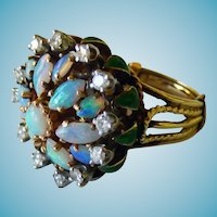 La Triomphe 14K Opals Diamonds & Enamel Cocktail Ring Circa 1965