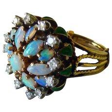 La Triomphe 14K Opals Diamonds & Enamel Cocktail Ring Circa 1965