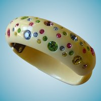 Signed Weiss Confetti Bangle Bracelet
