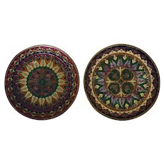 Pair Vintage Enamel On Copper Plates Eastern European