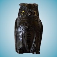 Rare Owl Tea Caddy Black Forest Circa 1900 Glass Eyes