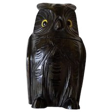 Rare Owl Tea Caddy Black Forest Circa 1900 Glass Eyes