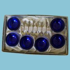 6 Sterling Salts & Spoons Cobalt Liners Boxed