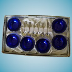 6 Sterling Salts & Spoons Cobalt Liners Boxed