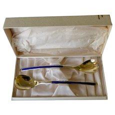 Thune Norway Sterling Vermeil & Enamel Salad Set Boxed