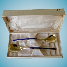 Thune Norway Sterling Vermeil & Enamel Salad Set Boxed