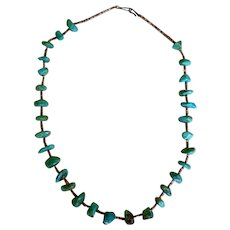 Native American Turquoise & Heishi Bead Necklace 24""