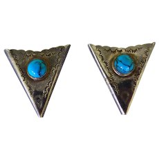 Pair Sterling & Turquoise Collar Points Native American
