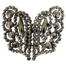 Victorian Cut Steel Belt Buckle Butterfly Design Sewing Notion