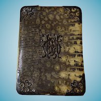 Antique English Gentleman's Card Case/Wallet Lizard & Sterling Silver Dated 1876
