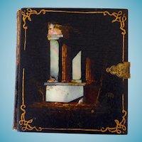 Rare Paper Mache 6th Plate Photo Case Scenic With MOP