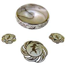 Vintage Siam Sterling Bracelet Pin & Earrings