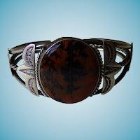 native American Picture Agate Sterling Cuff Bracelet