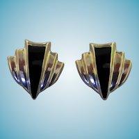 Sterling & Onyx Clip Back Earrings Taxco