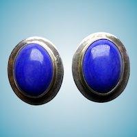 Sterling & Lapis Earrings Taxco Clip Back