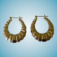 Vintage Shrimp Style 14K Hoop Earrings