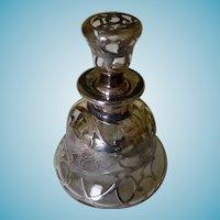 Wonderful Art Nouveau Silver Overlay Perfume/Cologne Bottle