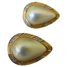 Gorgeous 14K Mabe Pearl & Diamond Earrings Lever Backs