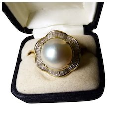 Magnificent 14K Mabe Pearl & Diamond Ring 15MM