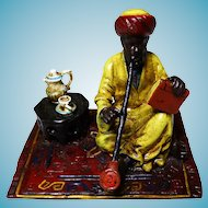 Signed Bergmann Cold Painted Vienna Bronze - Seated Arab Polychrome