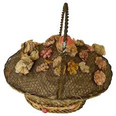 Victorian Wire Work Pin Cushion Basket