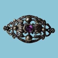 Victorian 800 Silver & Amethyst Brooch/Pin