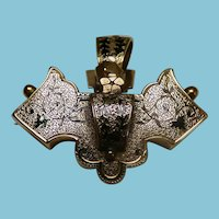 Victorian 10K Pendant/Brooch Watch Pin With Enamel Taille D'Epergne