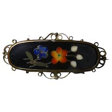 Victorian Pietra Dura Brooch/Pin